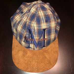 Vintage Mickey Mouse Plaid Hat With Leather Brim